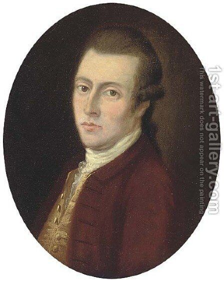 Portrait of a gentleman, bust-length, in a brown coat and waistcoat by (after) Gainsborough, Thomas - Reproduction Oil Painting