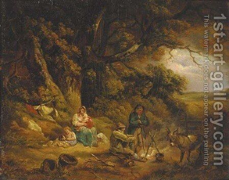 A gypsy encampment by (after) Thomas Hand - Reproduction Oil Painting