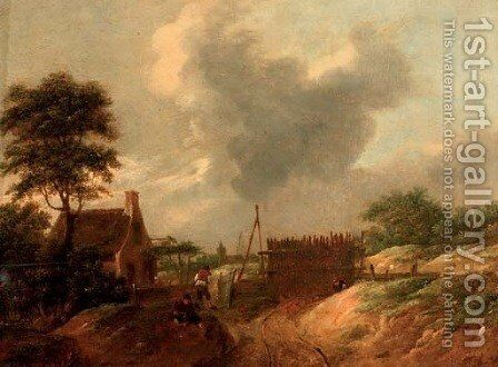 A dune landscape with figures by a gate by (after) Thomas Heeremans - Reproduction Oil Painting