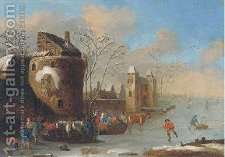 A winter landscape with figures on a frozen lake, a walled town beyond by (after) Thomas Heeremans - Reproduction Oil Painting