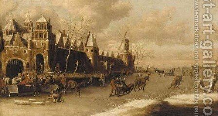 A winter landscape with skaters outside a city wall by (after) Thomas Heeremans - Reproduction Oil Painting