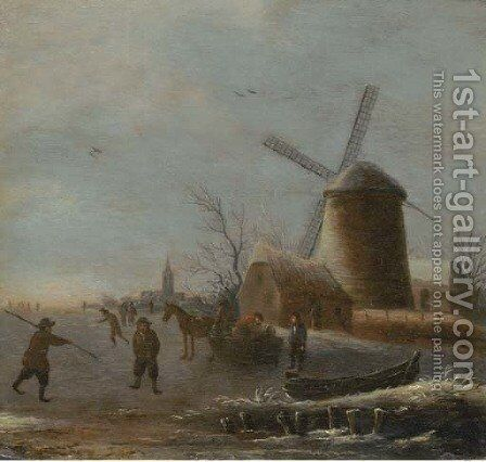 A winter river landscape with skaters on the ice by a windmill by (after) Thomas Heeremans - Reproduction Oil Painting