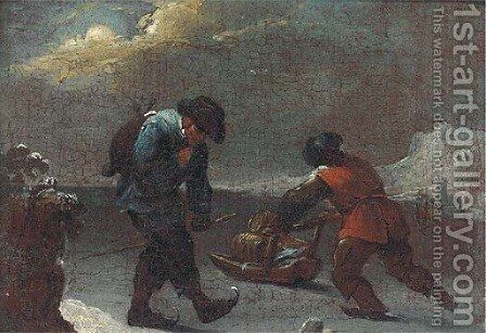 Winter travellers with a slay by (after) Thomas Heeremans - Reproduction Oil Painting