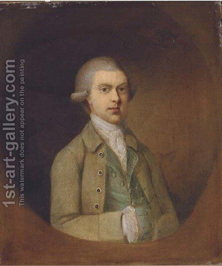 Portrait of a gentleman, half-length, in an olive jacket by (after) Thomas Hickey - Reproduction Oil Painting