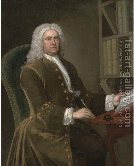 Portrait of a gentleman, seated three-quarter-length, in a green coat, holding a quill in his right hand, a book in his left by (after) Thomas Hudson - Reproduction Oil Painting