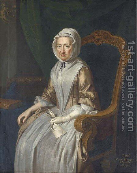Portrait of Elizabeth, Countess Dowager of Aylesford, seated three-quarter-length, in a beige and white dress and a white headscarf, in an interior by (after) Thomas Hudson - Reproduction Oil Painting