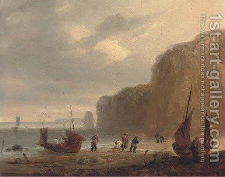 Fishermen unloading the day's catch by (after) Thomas Luny - Reproduction Oil Painting