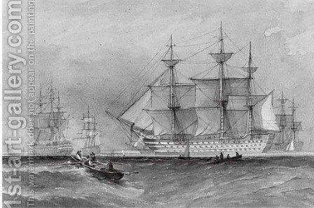 The fleet at Spithead by (after) Thomas Sewell Robins - Reproduction Oil Painting
