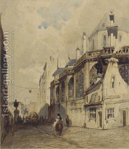 A horseman riding down a continental street by (after) Thomas Shotter Boys - Reproduction Oil Painting