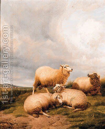 Sheep Resting In A Meadow 2 by (after) Thomas Sidney Cooper - Reproduction Oil Painting