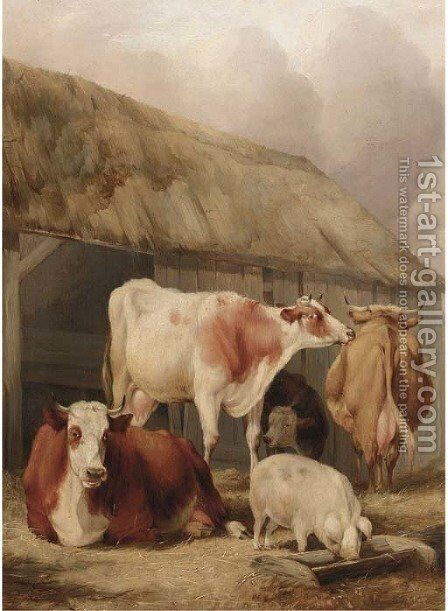 Cattle and a pig in a farmyard by (after) Thomas Sidney Cooper - Reproduction Oil Painting