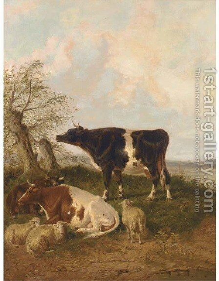 Cattle and sheep resting in a river landscape by (after) Thomas Sidney Cooper - Reproduction Oil Painting