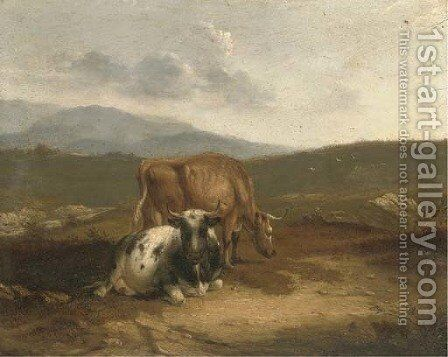 Cattle in an extensive landscape by (after) Thomas Sidney Cooper - Reproduction Oil Painting