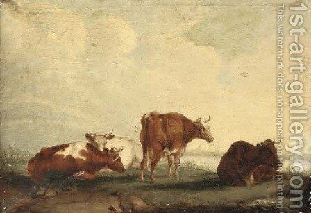 Cattle on the bank of a river by (after) Thomas Sidney Cooper - Reproduction Oil Painting