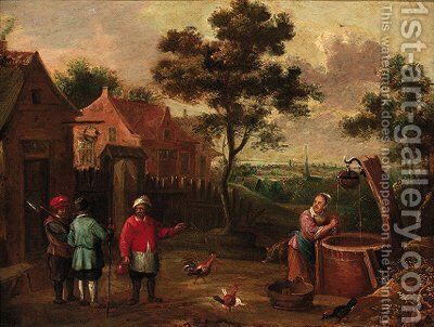 Peasants conversing on a track by a well in a village by (after) Thomas Van Apshoven - Reproduction Oil Painting