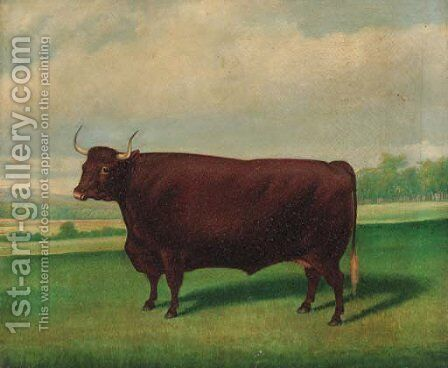 A prize longhorned bull by (after) Thomas Weaver - Reproduction Oil Painting