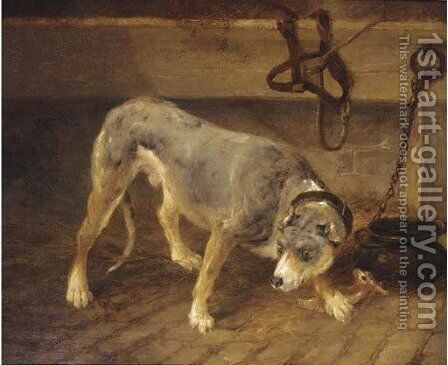 A tethered dog in a stable by (after) Thomas Woodward - Reproduction Oil Painting