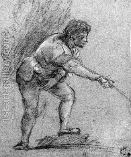 A youth leaning forward, gesturing to the right by (after) Tiziano Vecellio (Titian) - Reproduction Oil Painting