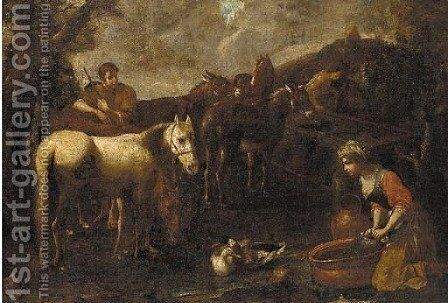 A drover with horses and donkeys stopped at a watering trough, a washerwoman kneeling nearby by (after) Tommaso Salini (Mao) - Reproduction Oil Painting