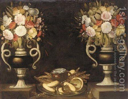 Mixed flowers in a pair of urns, bread, a jug of wine and figs on a silver dish on a ledge by (after) Tomas Hiepes - Reproduction Oil Painting