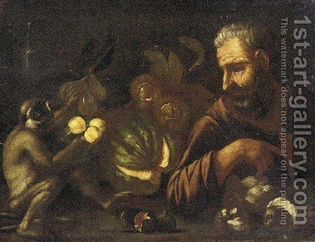 A man and a monkey with a melon, figs, mushrooms and peaches on a table by (after) Tommaso Salini (Mao) - Reproduction Oil Painting