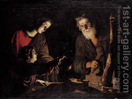 The Virgin and Child with Saint Joseph at the work bench by (after) Trophime Bigot - Reproduction Oil Painting
