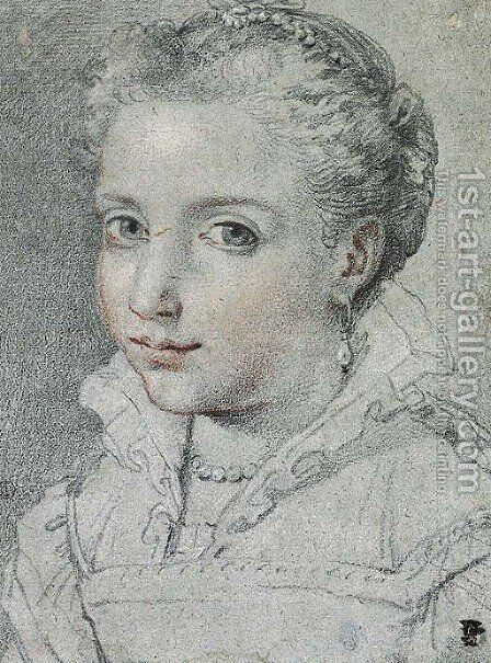 Portrait of a young girl in Renaissance dress by (after) Ubaldo Gandolfi - Reproduction Oil Painting