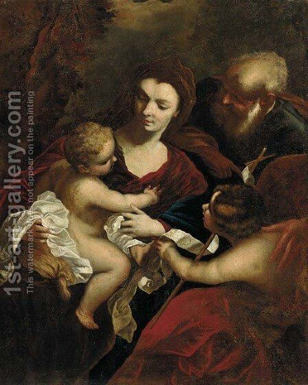 The Holy Family with the Infant Saint John the Baptist by (after) Valerio Castello - Reproduction Oil Painting
