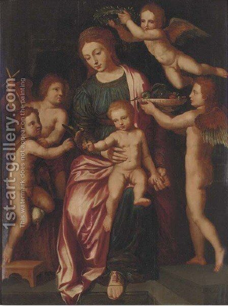 The Virgin and Child with the Infant Saint John the Baptist and three putti by (after) Vincent Sellaer - Reproduction Oil Painting