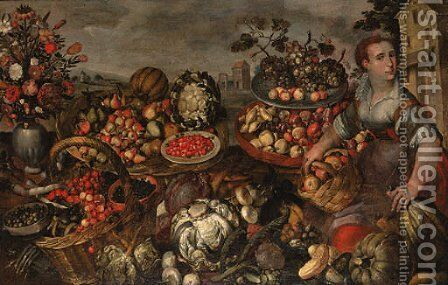 A fruit and vegetable seller seated, surrounded by her wares by (after) Vincenzo Campi - Reproduction Oil Painting