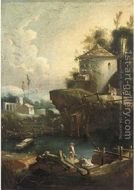 A river landscape with a boy fishing, a dovecote on a rise beyond by (after) Vittorio Amadeo Cignaroli - Reproduction Oil Painting