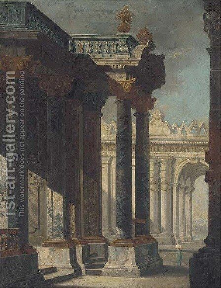 A capriccio of a palace courtyard by (after) Viviano Codazzi - Reproduction Oil Painting