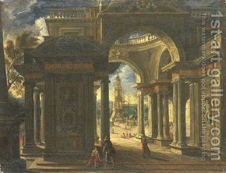 An architectural capriccio of the loggia of a Baroque palace, a port beyond by (after) Viviano Codazzi - Reproduction Oil Painting