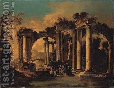 Capricci of lakeside classical ruins with peasants by (after) Viviano Codazzi - Reproduction Oil Painting