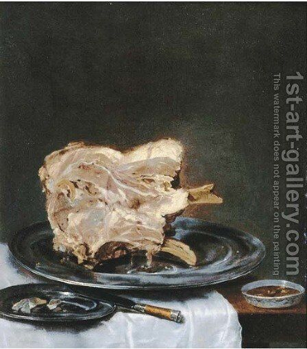 A ham on a pewter plate on a drapped table by (after) Willem Claesz. Heda - Reproduction Oil Painting