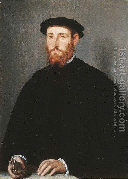 Portrait of a man, called Jacobus Scharon by (after) Willem Adriaensz Key - Reproduction Oil Painting