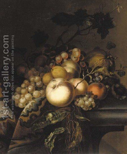 Grapes and vine leaves, peaches, apricots, horse chestnuts and blackberries on a draped ledge by (after) Willem Van Aelst - Reproduction Oil Painting