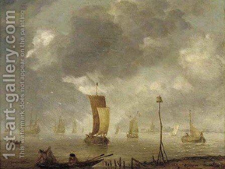Shipping in calm waters by (after) Willem Van Diest - Reproduction Oil Painting