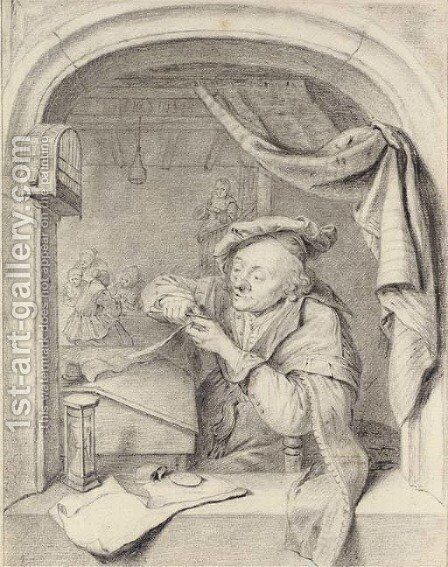 A scholar sharpening his quill at a casement, girls in a schoolroom beyond, after Gerrit Dou by (after) Willem Van Mieris - Reproduction Oil Painting