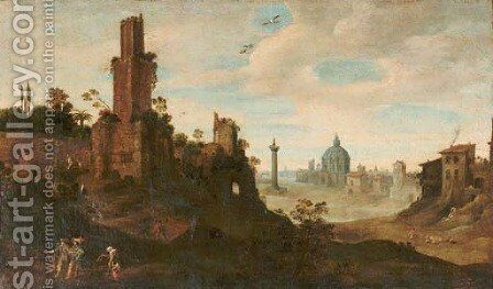 An extensive landscape with elegant figures passing a beggar on a track, ruins nearby and a 'capriccio' view of Rome in the distance by (after) Willem Van, The Younger Nieulandt - Reproduction Oil Painting