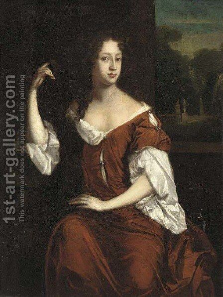 Portrait of Lady Stapylton (d.1729) by (after) William Wissing Or Wissmig - Reproduction Oil Painting