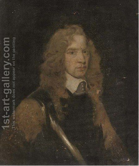 Portrait of a gentleman, bust-length, wearing a breast plate by (after) William Dobson - Reproduction Oil Painting