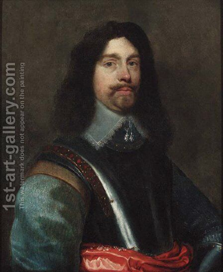 Portrait of a gentleman, half-length, in a cuirass, and grey jerkin by (after) William Dobson - Reproduction Oil Painting