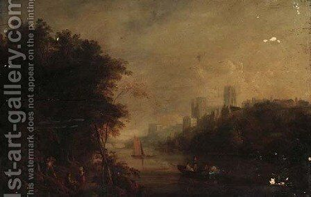 Loggers on the banks of the Wear, Durham Cathedral beyond by (after) William Havell - Reproduction Oil Painting