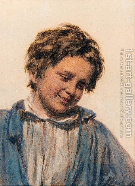 Study of a boy by (after) William Henry Hunt - Reproduction Oil Painting