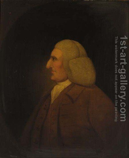 Portrait of a gentleman, half-length, in a brown coat and waistcoat, feigned oval by (after) Hoare, William, of Bath - Reproduction Oil Painting