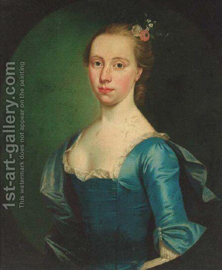 Portrait of Anne Evans Vowell (b.1720), nee Hamilton, in a blue dress with lace collar and blue wrap, feigned oval by (after) Hoare, William, of Bath - Reproduction Oil Painting