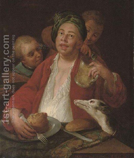 A laughing man dining at a table, with a greyhound and servants by (after) William Hogarth - Reproduction Oil Painting