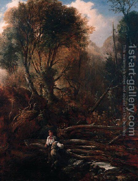 Two Boys In A Forest by (after) William James Muller - Reproduction Oil Painting