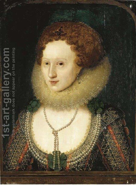 Portrait of a lady, bust-length, traditionally identified as Anne of Denmark by (attr. to) Larkin, William - Reproduction Oil Painting